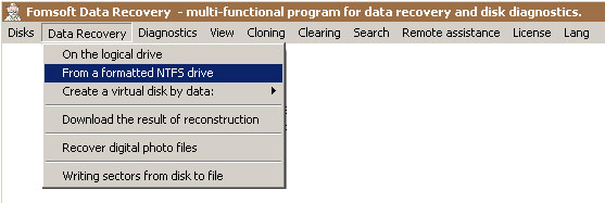 Data recovery by formatted drive letter