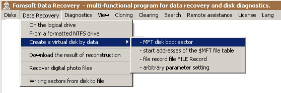 Menu - Data recovery from boot sector data