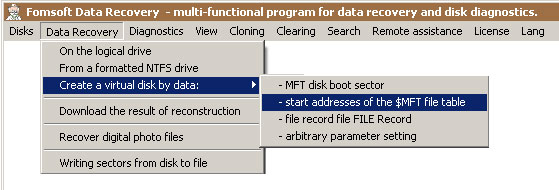Menu - Data recovery from the data file record $MFT
