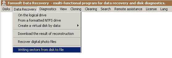 Menu - Write sectors from disk to file.