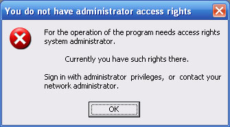 the Lack of administrative privileges (Windows XP).