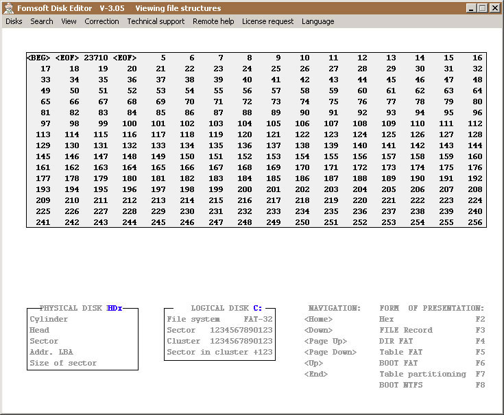 Display of FAT table sector-16. Format 16/32 moved by pressing (F5).