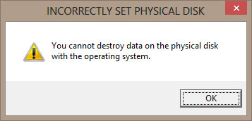 the Specified disk contains the operating system.